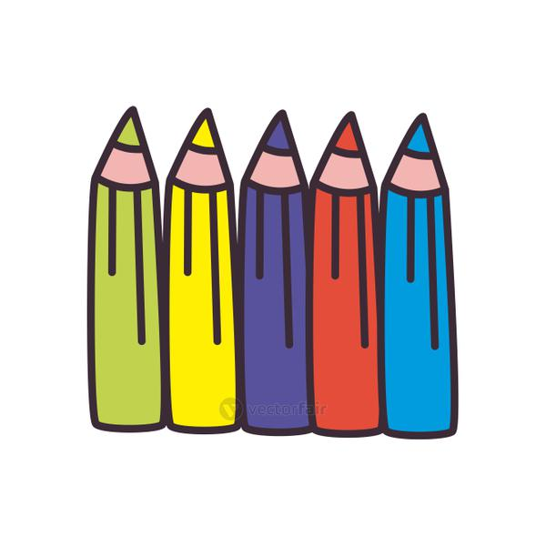 Isolated pencils colors fill style icon vector design