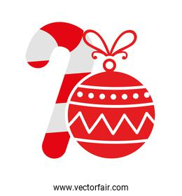 ball christmas with cane decoration isolated icon