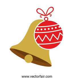 bell with ball christmas decoration isolated icon