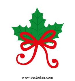 leafs nature with bow ribbon isolated icon