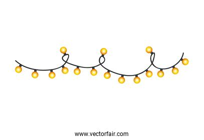 lights bulbs decoration christmas isolated icon