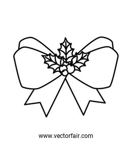 bow ribbon christmas with seeds and leafs line style icon