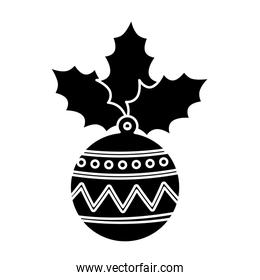 silhouette of ball christmas with leafs isolated icon