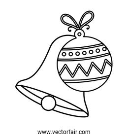 bell with ball christmas decoration line style icon