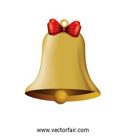 bell christmas decoration with bow ribbon
