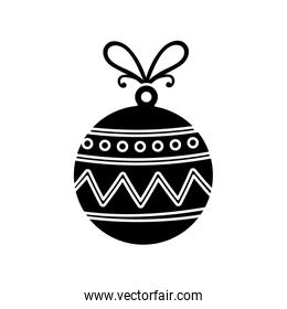 silhouette of ball christmas decoration isolated icon