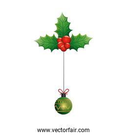 ball christmas hanging with leafs and fruits