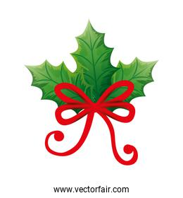 leafs nature with bow ribbon icon