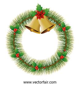 bells christmas with wreath decoration isolated icon