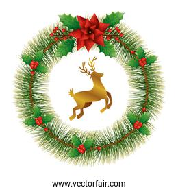 wreath of leafs tropicals for christmas decoration with reindeer