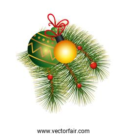 balls christmas decoration with tropical leafs