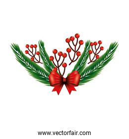 branches with holly fruits christmas and tropical leafs