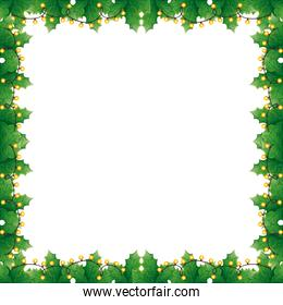 frame of leafs decoratives with lights christmas