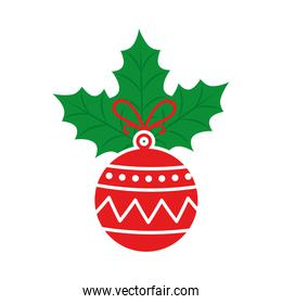 ball christmas with leafs isolated icon
