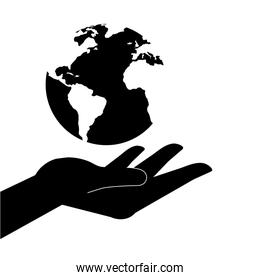 silhouette of hand receiving with planet earth