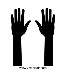 silhouette of hands person isolated icon