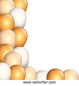 set of balloons helium golden and white
