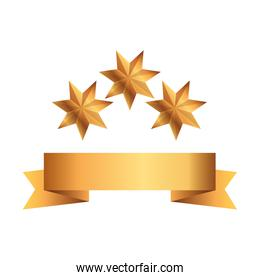 ribbon golden with stars isolated icon