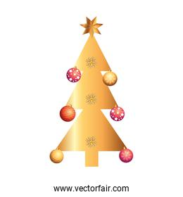 pine tree christmas with balls isolated icon