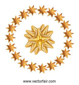 bow ribbon golden with frame circular of stars