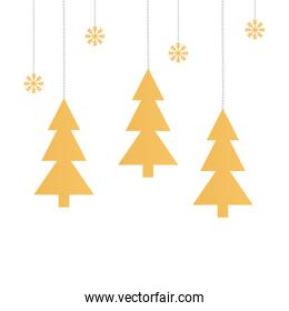 pine trees christmas with snowflakes hanging