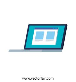 laptop computer with web page isolated icon