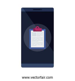 smartphone with clipboard isolated icon