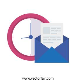 envelope mail with clock isolated icon