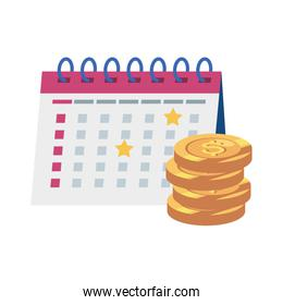 calendar reminder date with pile coins