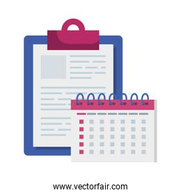clipboard with calendar reminder date isolated icon