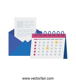 envelope mail with calendar reminder isolated icon