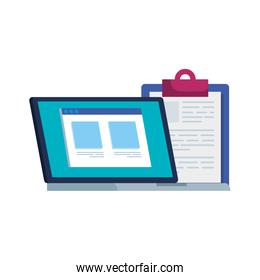 laptop computer with web page and clipboard