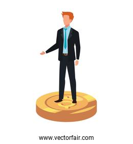 businessman elegant over coin isolated icon