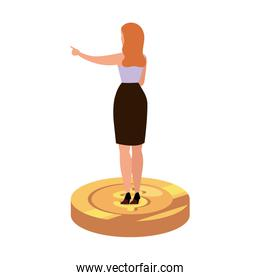 back business woman elegant over coin isolated icon