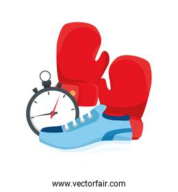 Boxing gloves chronometer and shoe vector design