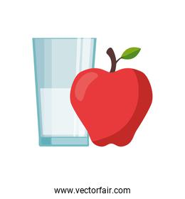 Isolated milk glass and apple vector design