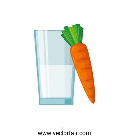 Isolated milk glass and carrot vector design