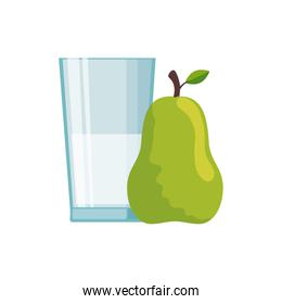 Isolated milk glass and pear vector design