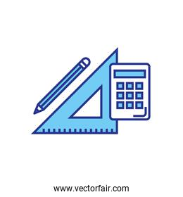 Isolated calculator ruler and pencil vector design