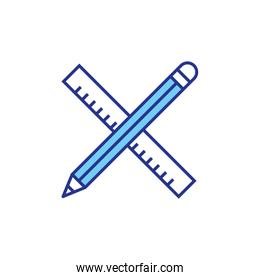 Construction ruler and pencil vector design