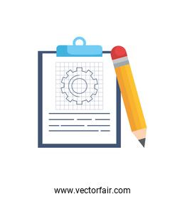 Isolated gear and document vector design
