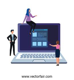 Isolated laptop and people vector design