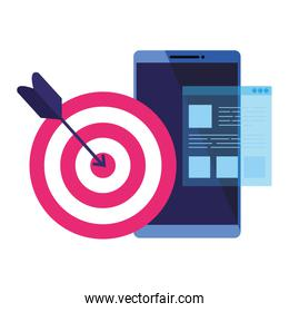 Isolated target and smartphone vector design