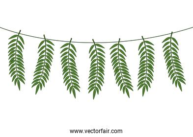 branches with leafs hanging isolated icon
