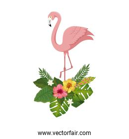 flamingo pink animal with flowers and leafs