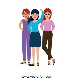 group of beautiful women standing avatar character