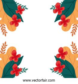frame of flowers with leafs natural isolated icon