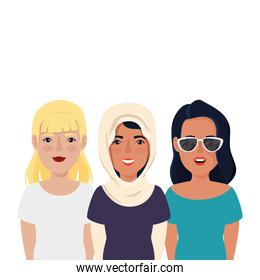 group of beautiful women avatar character icon
