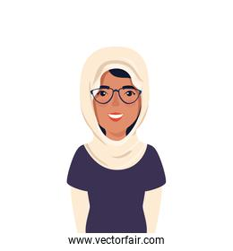 beautiful woman muslim with glasses avatar character icon