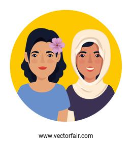 group of beautiful women in frame circular avatar character
